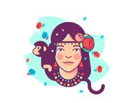 Girl With Monkey