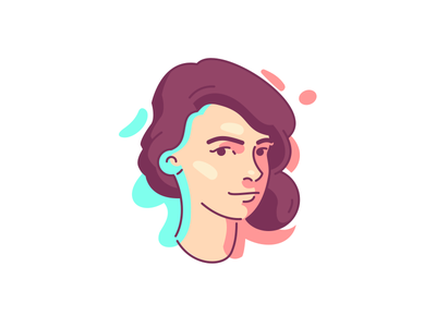 Self Portrait edgy clean simple flat linabo glyph shape logo icon illustration portrait self