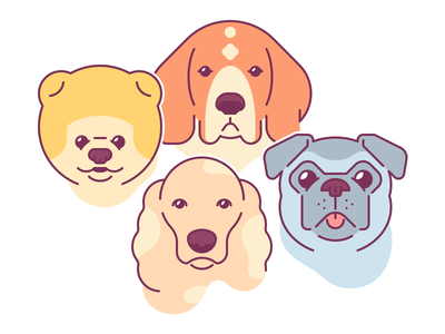 Dogs pug spaniel beagle pomeranian dog edgy clean simple flat logo icon illustration
