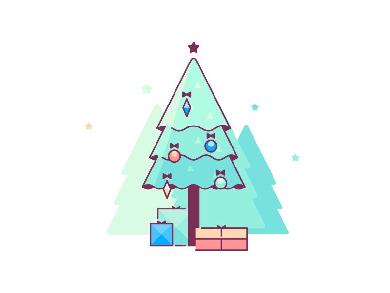 Christmas Tree christmas color icon line tree illustration