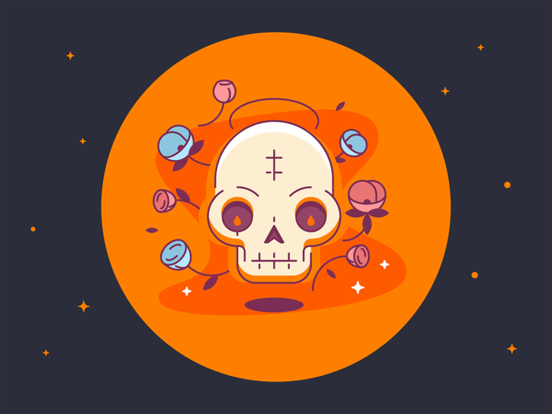 Skull Icon vector design web clean edgy ui glyph logo line color shape icon simple illustration