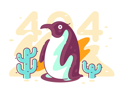 Penguin in a desert // 404 character design clean vector 404 page 404 error 404 shape flat glyph line color simple icon illustration
