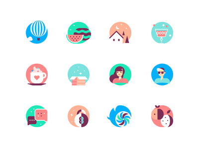 Walkthrough Illustrations home box cup sport fruits avatar character clean design edgy glyph logo flat line shape color simple icon illustration