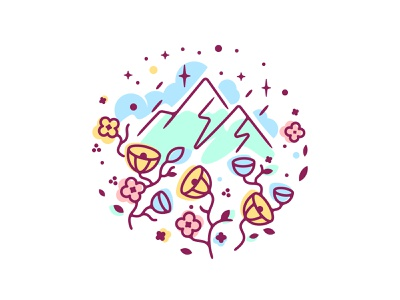 Mountains and Flowers flowers mountains icons vector clean design edgy glyph flat logo line shape color simple icon illustration