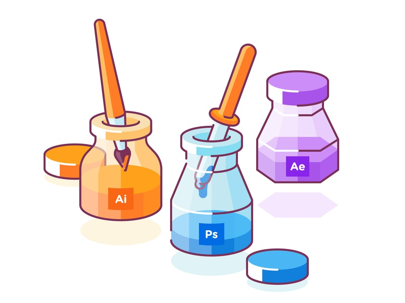 Tools color picker brush ae aim ps tool icons character clean design edgy glyph flat logo line shape color simple icon illustration