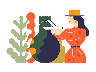 Garden Work edgy flat glyph line color logo shape simple icon illustration