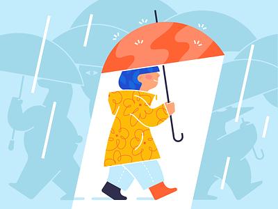 Raining simple vector street animals flat shape pattern weather water person umbrella rain icon illustration