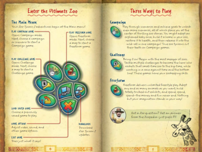 Zoo Tycoon 2 game manual (2008) | UI spread