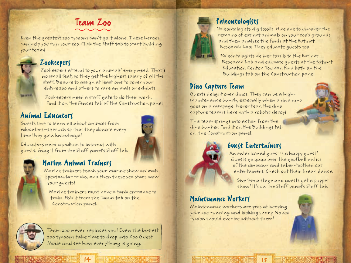 Zoo Tycoon 2 game manual (2008) | Team Zoo spread by Heidi