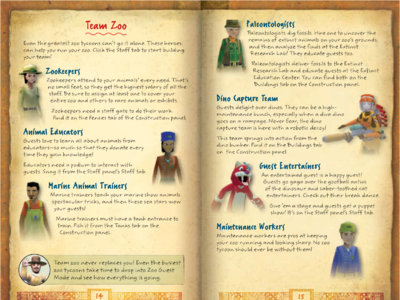 Zoo Tycoon 2 game manual (2008) | Team Zoo spread
