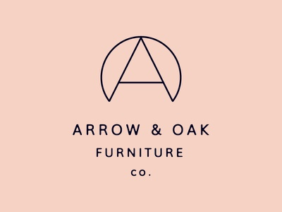 Arrow and Oak Logo Version 1c modern mcm pink branding logomark brandmark logo design logo