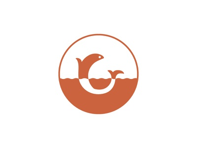 Cape Romain Outfitters Submark branding circle ocean sea water red fish icon submark design logo