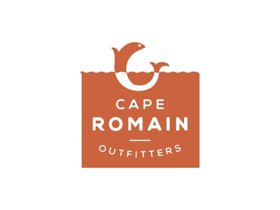 Cape Romain Outfitters Logo circle round square type mark design branding red water fish logo