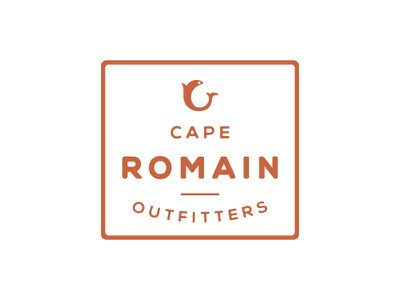 Cape Romain Outfitters Logo design branding outline round type red fish rectangle logo