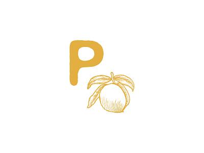 Pickled Peach Logo Icon p icon logo design illustration peach