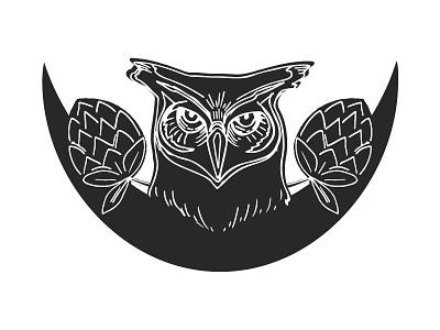 Wise One packaging label logo line art sketch wise moon hops owl beer
