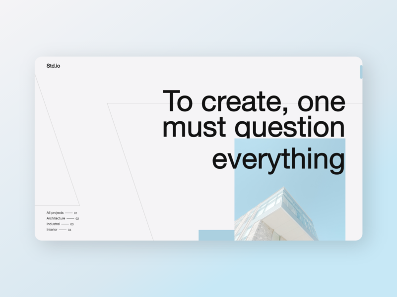 Std.io - Architecture Design Concept webdesign dailyui studio animation invite dribbble industrial building abstract architecture typography branding ux design ui druhin clean flat minimal adobe xd