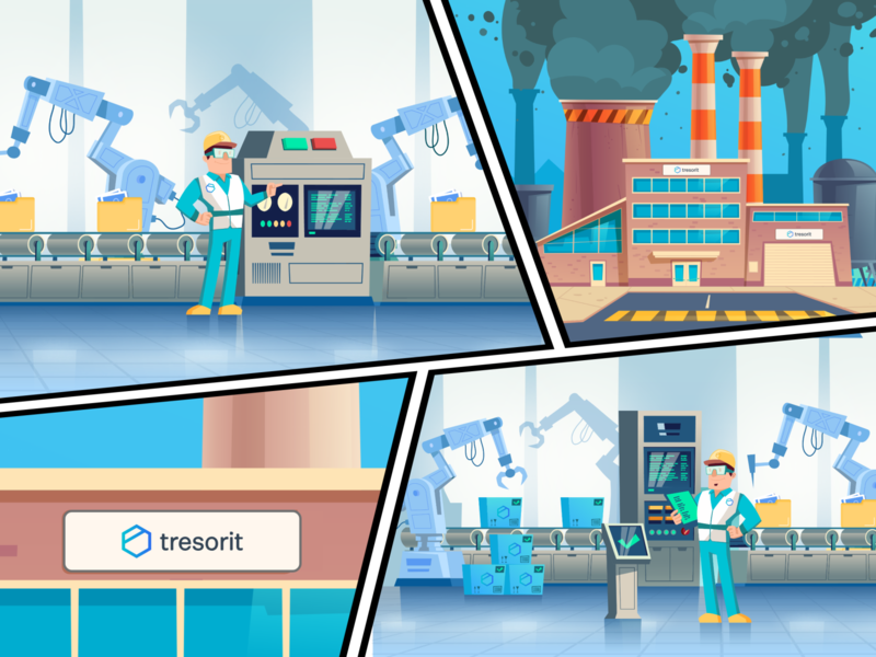Tresorit Playoff - An Encryption Factory logodesign dribbble invite playoff illustrator comic art logo design encryption tresorit factory logo dribbble illustration animation branding design druhin clean flat minimal adobe xd