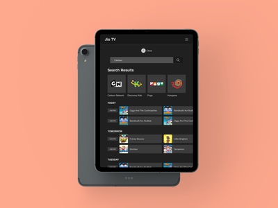 JioTV - Tablet Design | Full Page Search Results search interaction cartoon schedule tv shows tv movies jiotv tablet mobile app branding ux design ui druhin clean flat minimal adobe xd