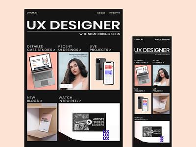 New UX Portfolio - Responsive Design modern gsap dribbble invite animation webflow responsive portfolio web design mobile typography branding ux design ui druhin clean flat minimal adobe xd