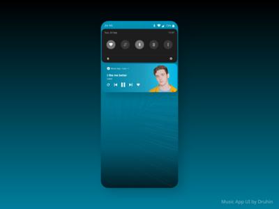 Music App UI Concept ( Music Player - Notification Bar )