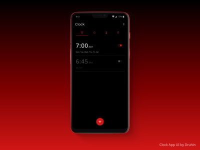 Clock App - Alarm Page Design - Uplabs Challenges