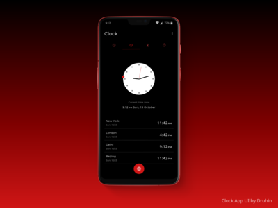 Clock App - World Clock Page Design - Uplabs Challenges