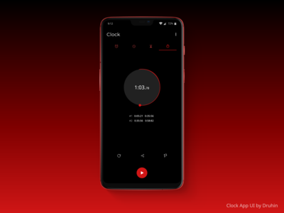 Clock App - Stopwatch Page Design - Uplabs Challenges