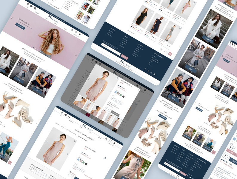 Mirror - eCommerce Responsive website user experience design logo e-commerce web website design responsive web design responsive design ecommerce website ecommerce design ecommerce user experience uxui ux ui landing page landing page design