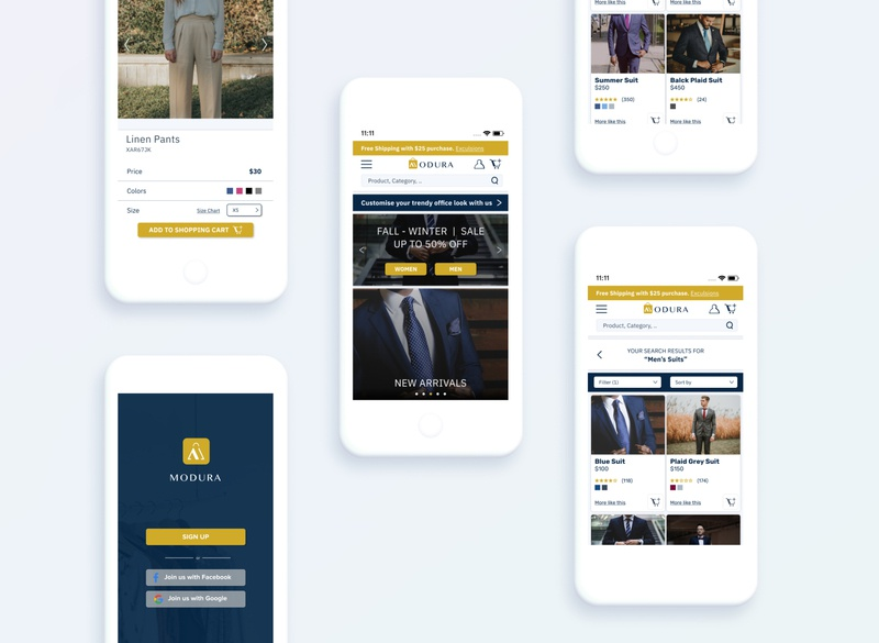 Modura - an eCommerce Clothing Brand iphone mobile design user experience design e-commerce design landing page mobile ui mobile app mobile app design website design web ux ui ecommerce