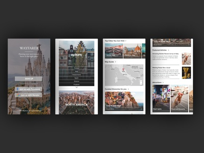 Wayfarer: A Travel Guide design challenge sign up page mobile app travel app travel mobile design mobile ui website design landing page design user experience design web ux ui design