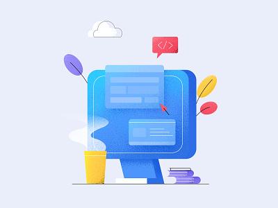 The second_Office illustration work funny office design office mouse bule color book coffee bottle computer branding ui design web illustration