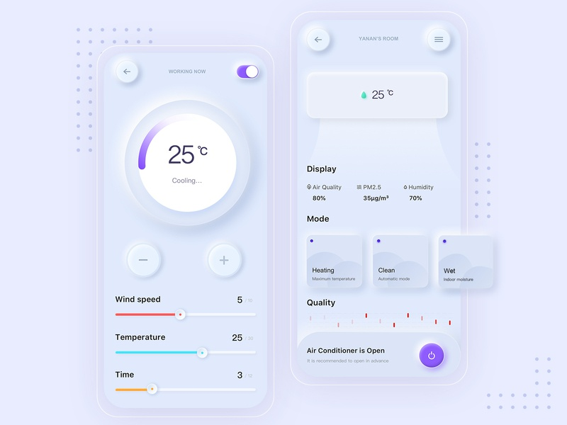 A set of air-conditioning control app open source app design simple app control air condition summer ux ui web design illustration