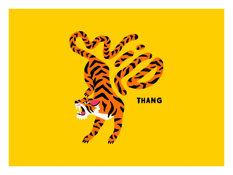 Wild Thang typography hand drawn type tiger procreate illustration