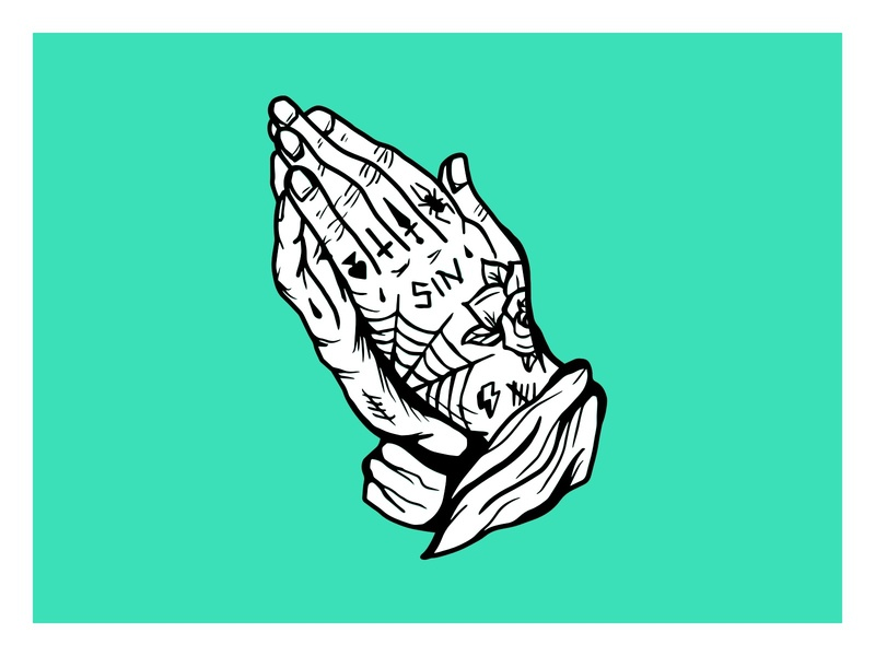 Sinner tattoos hands illustration hand drawn prayer sin