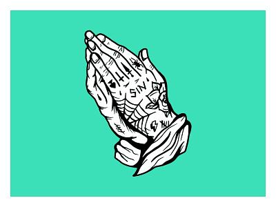 Sinner tattoos hands illustration hand drawn prayer sin