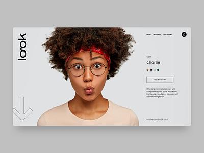 Look glasses eyewear concept typography logo branding ux ui web design website