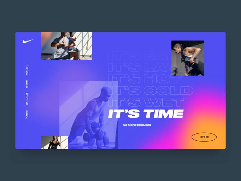 No More Excuses ux ui web website sweat workout concept nike exercise training