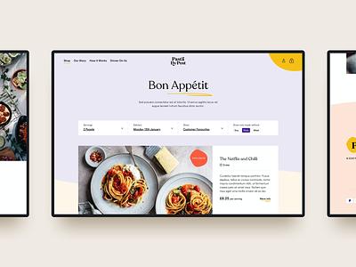 Pasta By Post branding ui ux web design food service subscription webdesign website e-comerce ecommerce pasta