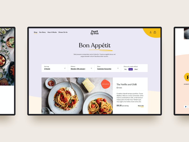 Pasta By Post branding ui ux web design food service subscription webdesign website e-comerce ecommerce pasta