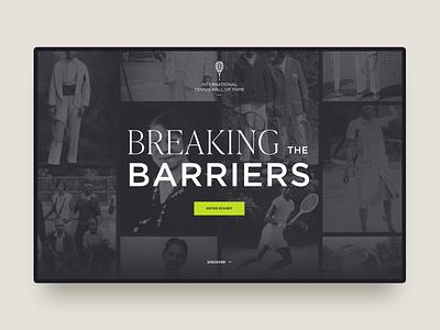 Breaking Barriers tennis history timeline web design ui ux website