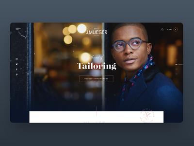 J.Mueser web design interface suits tailoring ux ui uiux ecommerce website fashion menswear