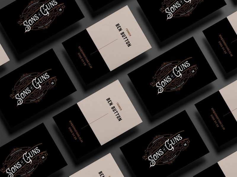 Sons of Guns Business Cards branding and identity stationery business cards typography logo branding