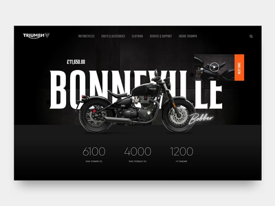 Triumph dark motor concept web design website motorcycle triumph after effects animation