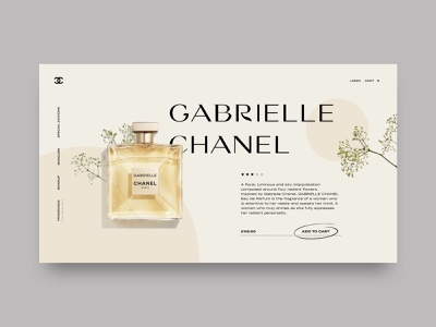 Gabrielle Chanel landing page website typography perfumes chanel ux ui concept web design design perfume