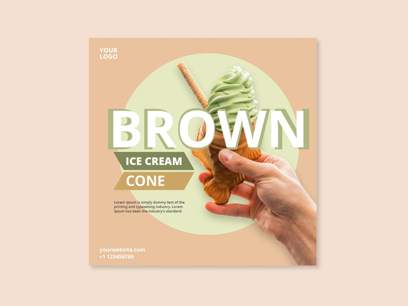 Brown-Ice-Cream-Social-Media-post designs photoshop cc web ux ui design