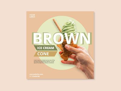Brown-Ice-Cream-Social-Media-post designs photoshop cc web ux ui design