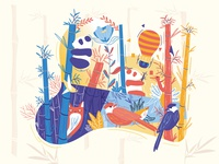 Panda bamboo forest Illustration