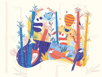 Panda bamboo forest Illustration 竹子 panda bird ui illustrator typography flat illustration design