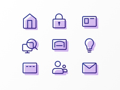 Icons shadow color monoline line rounded purple iconography icons